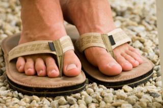 Foot in sandals